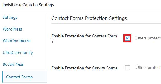 お問合せフォーム(Contact Form7)に、表示されるように設定します。Contact Formsをクリックし、[Enable Protection for ContactForms7]にチェックを入れます。